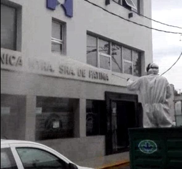 Operativo de sanitización de la clínica Fátima