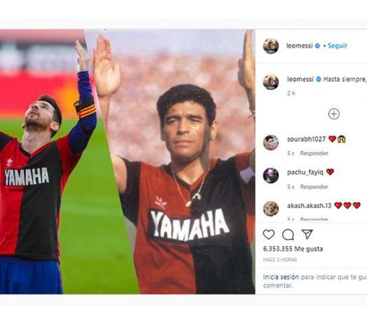 El posteo de Messi después del homenaje a Diego en el Camp Nou